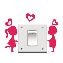 Boy & Girl with Loving Heart Switch Stickers Outlets Decor Diy Wall Vinyl Home Decals Living Room Bedroom Mural Art Hot Pink