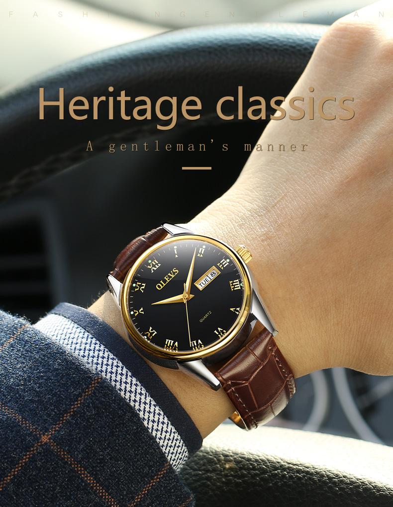 HTB1FRPhbV9gSKJjSspbq6zeNXXah - OLEVS Luxury Men Gold Watches High Quality Watch Men's Quartz Date Clock Male Week Display Wristwatch Steel relogio masculino