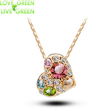 necklace Float heart New Arrival fashon women accessories rhinestones heart design gold color Crystal Pendant  jewelry 85319