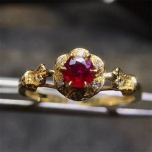 factory wholesale MEDBOO gemstone hand jewelry 2017 new fashion 18K yellow  gold inlay natural red ruby ring with diamond