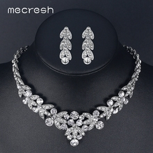 Mecresh Luxurious Crystal African Jewelry Sets Silver Color Bridal Jewelry Sets Wheat-Shape Wedding Necklace Sets Jewelry TL206