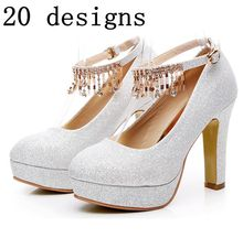 Woman white gold wedding pumps shoes ankle buckle straps round toe platforms shoes TG1348 bling sequined cloth lady party shoe