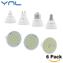 YNL 6pcs/lot Lampada LED Bulb GU10 E27 E14 MR16 3W 5W 7W 220V 240V Bombillas LED Lamp SMD 2835 48LED 60LED 80LED Spotlight
