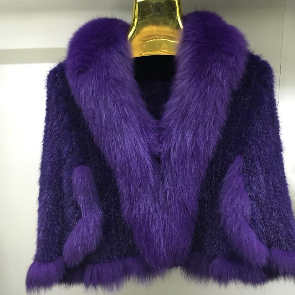 Luxury Mink Fur Shawl For Women Poncho Cape Knitted Genuine Fur Jacket Coat Female Winter Wraps Outerwear (6)