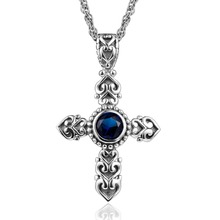 Ange Cross Pendant Necklace Vintage Style Blue Stone Real 925 Sterling Silver Women Men Biker Jewelry Gifts Wholesale Free Box