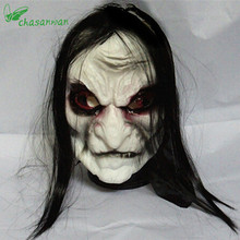 Horror! Halloween Mask Long Hair Ghost Scary Mask Props Grudge Ghost Hedging Zombie Mask Realistic Silicone Masks Masquerade,L