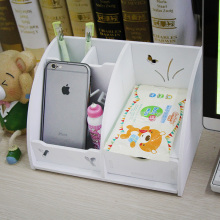 Drawer dresser cosmetic storage bins desktop mobilephone storage holder 4 grid wooden box
