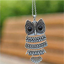 women Fashion accessories jewelry New owl pendant long chain necklace gift for women girl wholesale P30.