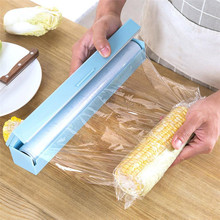 31CM Vogue Plastic Kitchen Foil And Cling Film Wrap Dispenser Cutter Storage preservative film roll case with cutting blade Sale(China)
