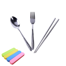 Hot 4 Colors Box Stainless Steel three pieces Tableware Cutlery Set Outdoor Travel Convenient Creative Lunch Colorful Tools