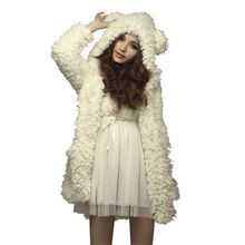 Cute Students Girls Casual Winter Warm Soft White Solid Woolen Bear Ear Hoodie Lambs Stylish Outerwear Jacket Coat