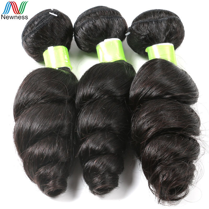 Newness 7A Grade Brazilian Loose Wave Virgin Hair 3Bundles 100% Unprocessed Cheap Human Hair Weaves Product No Tangle<br><br>Aliexpress