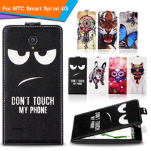 Newest  For MTC Smart Sprint 4G Factory Price Luxury Cool Printed Cartoon 100% Special PU Leather Flip case cover,Gift