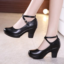 New 2019 Fashion Women Pumps With High Heels For Ladies Work Shoes Dancing  Platform Pumps Women Genuine Leather Shoes Mary Janes 4f2d5ab84e68