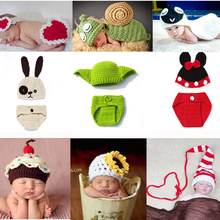 Newborn Clothes Crochet Baby Boy Girl Knit Costume Photography Props Outfit Animal Style Baby Beanies Hat SG048(China)