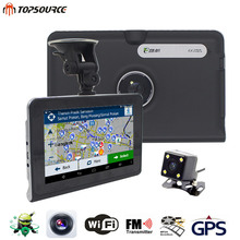 TOPSOURCE 7'' Car DVR GPS Navigation 16G/512MB AVIN android Rearview Camera Automobile Navigator Navitel Map truck GPS Sat nav