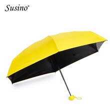 SUSINO Light Small Mini Folding Capsule Umbrella with Cute Case, Anti Ultraviolet Windproof 5 Folding Travel Pocket Umbrella