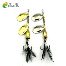 HENGJIA 1PC 2016 sport outdoor Metal jig spoon fishing lure feather hooks Sequin isca Artificial Bass spinner bait carp fishing(China)