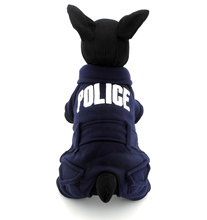 Police Dog Fleece Jacket Puppy Sweaters Pet Sweatshirts Cat Clothes Small Dog Jumpsuit Dark Blue Dog Coat Pattern
