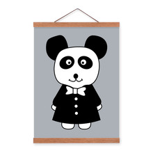 Minimalist Black White Nordic Panda Animal Cartoon A4 Framed Canvas Painting Wall Art Print Picture Poster Girl Kids Room Deco(China)