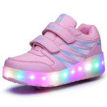 NEW Fashion Children Shoes Kids Sneakers Child PU Leather LED Lamp Shoes Lace Up Leisure For Boy & Girls
