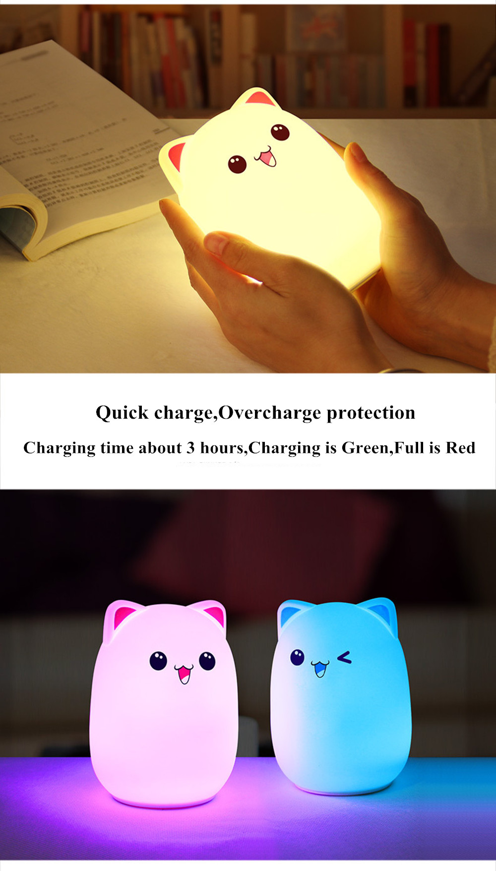 Colorful LED Night Light Lovely Silicone Cartoon Bear Rechargeable Touch Desk Bedroom Decor Tablet Lamp for Kids Girl (5)