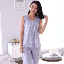 Summer women's pajamas fashion cotton sleeveless vest casual pyjama home small floral women tracksuit suit  big yards M-XXXXL