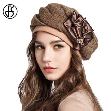 FS Elegant Wool Beret Hats For Women Red Black Blue Warm Cap Female Autumn Winter Knit Floral With Rhinestones Lady Painter Hat