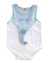 Cute Cotton Kids Bodysuits Newborn Baby Girls Boys 3D Elephant Nose Sleeveless Bodysuit Jumpsuit Outfits Summer Baby Clothing(China)