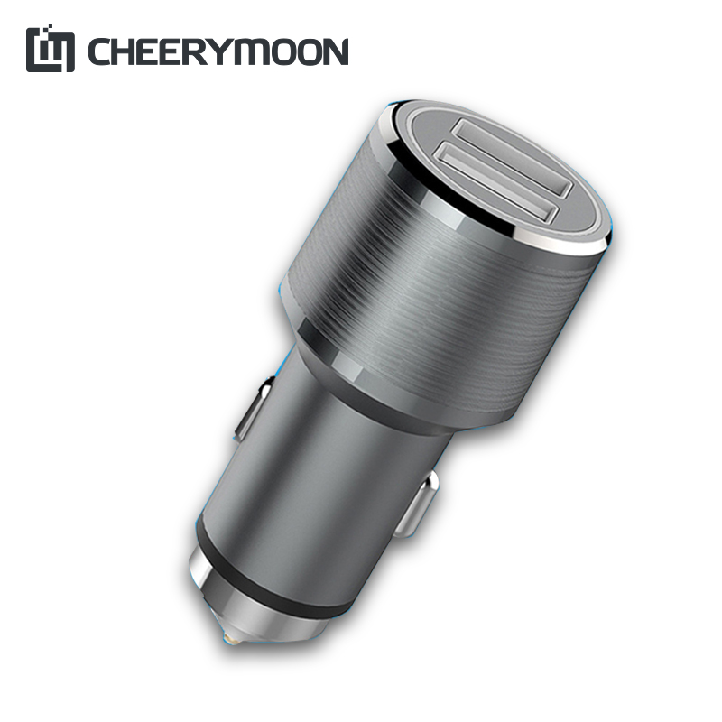 CHEERYMOON Car-Charger 18W 12V~24V Quick Charge 3.0 Dual 2 USB Aluminum Car Phone Fast Charge For iPhone Samsung Mobile Charger