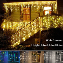 Best Christmas Outdoor Decoration Indoor 5m Droop 04-0.6m Curtain Icicle Led String Lights New Year Garden Party EU Plug 220V(China)