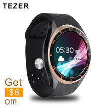 TEZER A5 Dial Call Quad core 512MB+8GB RAM Heart Rate Monitor smart Watch for Android 5.1 3G/WiFi/GPS SIM Card Anti lost Google