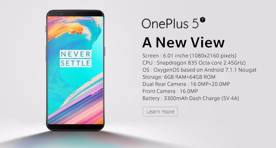 Original OnePlus 5 Mobile Phone 5.5″ 8GB RAM 128GB ROM Snapdragon 835 Octa Core Dual Rear 20MP 3300mAh NFC 4G Fingerprit Phone