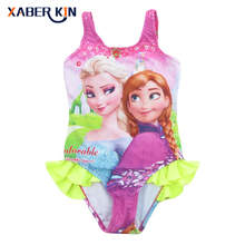 2016 Girls 3-10Y Swimsuit Anna&Elsa One Piece Children Swimwear Baby Swimsuit Bathing Suit Summer Style For Kids SW070-CGR1(China)