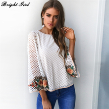 BRIGHT GIRL Embroidery Blouse Women Casual Lace White Blouse Shirt Fashion Long Sleeve Blouse Loose Mesh Women Tops 2017 New(China)