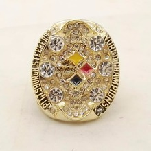 Drop shipping Replica Newest Design 2008 Super Bowl Pittsburgh Steelers Championship Ring for Fans(China)