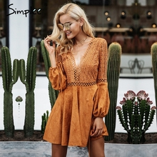 Simplee Sexy lace up v neck suede lace dress women Hollow out flare sleeve winter dress party christmas Autumn backless femme(China)