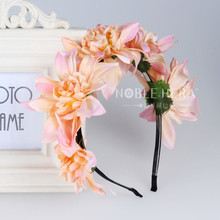 Handmade bride floral crown headband Large flower hair garland festival wedding hair accessories hairbands(China)