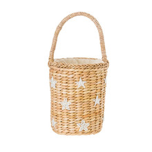 2017 Beach Bag Beading Embroidery Small Bucket Straw Bags Star Smile Women Causal Weave Girls Drawstring Handbags Shopper Totes(China)