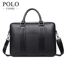 2017 NEW Men's Handbags Business Briefcase Quality PU Leather Handbag for Men Black Brown Color Shoulder Travel Bags VP-19