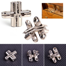 New 2Pcs Invisible Cross Hinge Hidden Concealed Hinge For Cabinet Cupboard Door Wooden Boxes Accessories