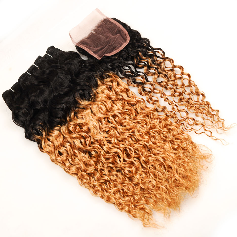 Pinshair Pre-Colored Water Wave Malaysian Hair Ombre 3 Bundles With Closure 1B 27 Blonde Human Hair Weave With Closure Non Remy (54)