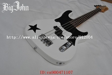 free shipping new Big John electric bass guitar in white with print five-pointed star made in China F-1261(China)