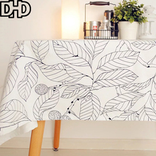 Modern Flower Tablecloth Fashion Black White Manteles Nappe Rectangulaire Folk Style Table Cloth Rectangular Cotton Table Cover
