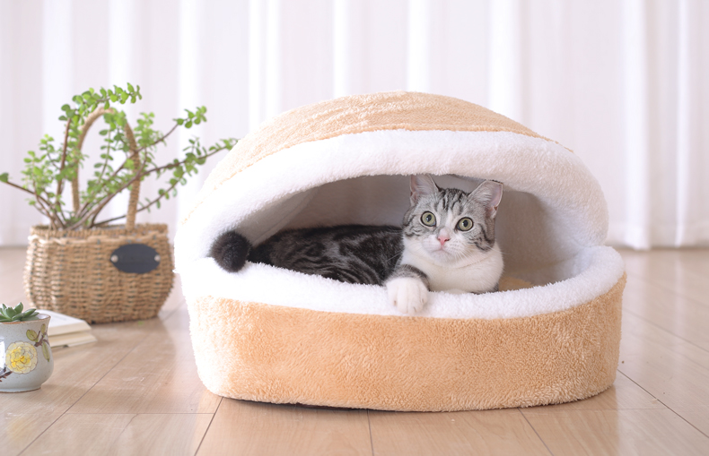 Cat Bed - Cozy Hideaway Covered Dual House Bed 3