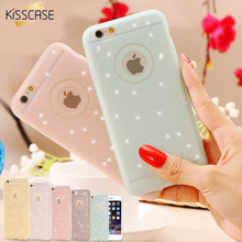KISSCASE Candy Color Matte Frame Soft TPU Clear Phone Case For iPhone 6 6S Plus 5S SE Full Body Glitter Transparent Cover Bag