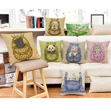 Cute Baby Animals Pillows for Home Decoration Pocket Baby Panda Tiger Puppy dog Kitten Cat Cushion Covers Linen Pillow Cases