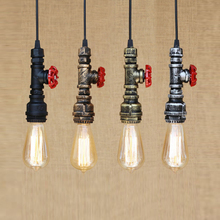 4 color art deco Loft industrial Iron water Pipe steam punk Vintage pendant lamp cord E27 led lights for bar restaurant cafe