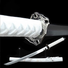 Katana Samurai Japanese Sword Katana Sword Carbon Steel All Handmade White Carved Dragon Scabbard Practical Sharp Knife