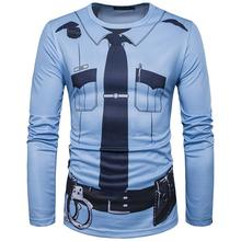 2017 Brand Men Police 3D T Shirt Male Adult Funny Party Cop Pirate Vampire Santa Claus Uniform Halloween Cosplay Costume